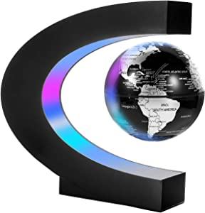 Gresus Magnetic Levitation Floating World Map Globe with C Shape Base, Floating Globe with LED Lights, Great Fathers Students Teacher Business Boyfriend Birthday Gift for Desk Decoration