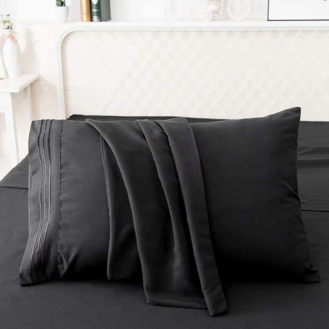 Black 1500 Series 100/% Brushed Microfiber King Pillowcase Set Solid Super Soft and Wrinkle Resistant