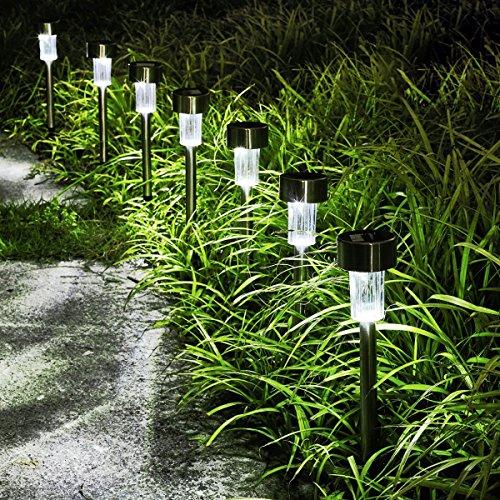 KODOO 12Pack Solar Lights Outdoor, Outdoor Garden Lights, Solar Pathway Lights, Outdoor Landscape Lighting for Lawn/Patio/Yard/Walkway/Driveway (Stainless Steel) by KODOO (Image #1)