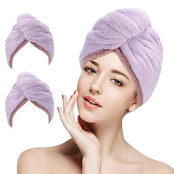 Women Bathroom Hair Towel Quick-Dry Hair Hat Turban Head Wrap Shower Cap Towels