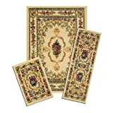 Achim Home Furnishings Capri 3-Piece Rug Set, Savonnerie - White