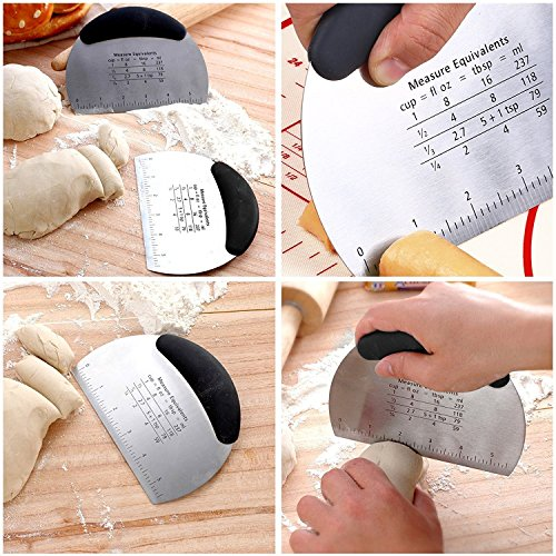Dough Blender and Pastry Scraper - Stainless Steel Dough Cutter Set with Blades,Multipurpose Spatula- Pizza Dough Cutter - Chopper by AMAMDOOG (Image #2)