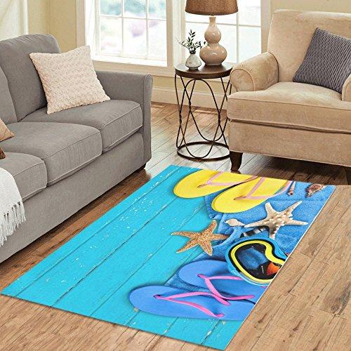 InterestPrint Custom Summer Beach Starfish Flip Flop Area Rug Carpet 5'3