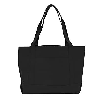 new Bags for Less Solid Color Boat Tote Black