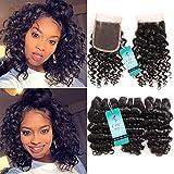 UDU Hair Brazilian Deep Wave 3 Bundles with Closure 7A Grade Unprocessed Brazilian Virgin Hair 3 Bundles with Lace Closure 3 part (8 8 8 inch+8 inch 4X4 lace closure) Review