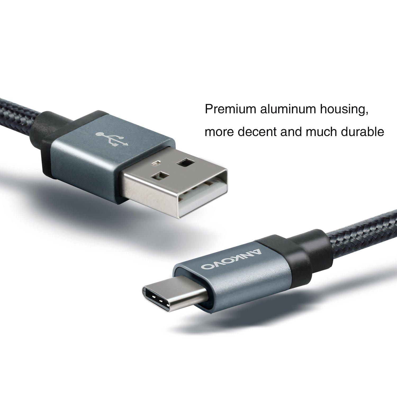 ANKOVO nylon trenzado cable USB tipo C cargador (6,6 pies/2 m), color negro: Amazon.es: Electrónica