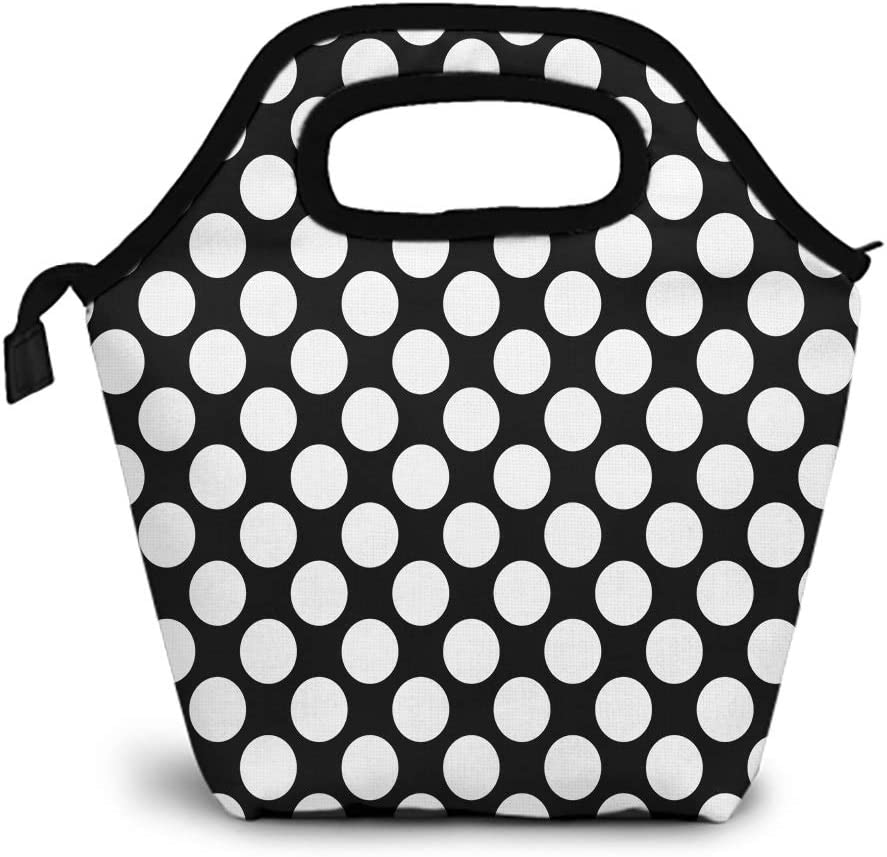 Britimes Small Womens Lunch bag, Insulated Flower Carrying Lunch Bag Big Polka Dot Abstract Black White Monochrome For School Travel Outdoor Office Work Picnic