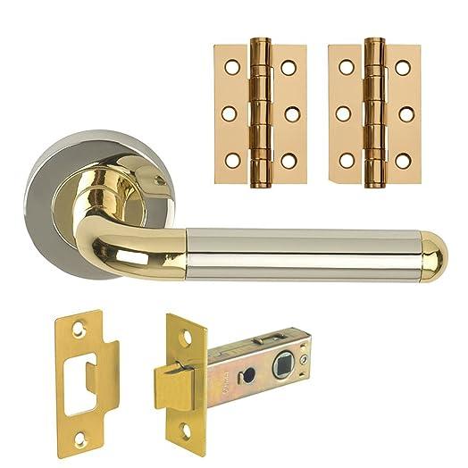 Designer ORBIT Internal Door Handle Pack Lever on Rose Dual Finish ...