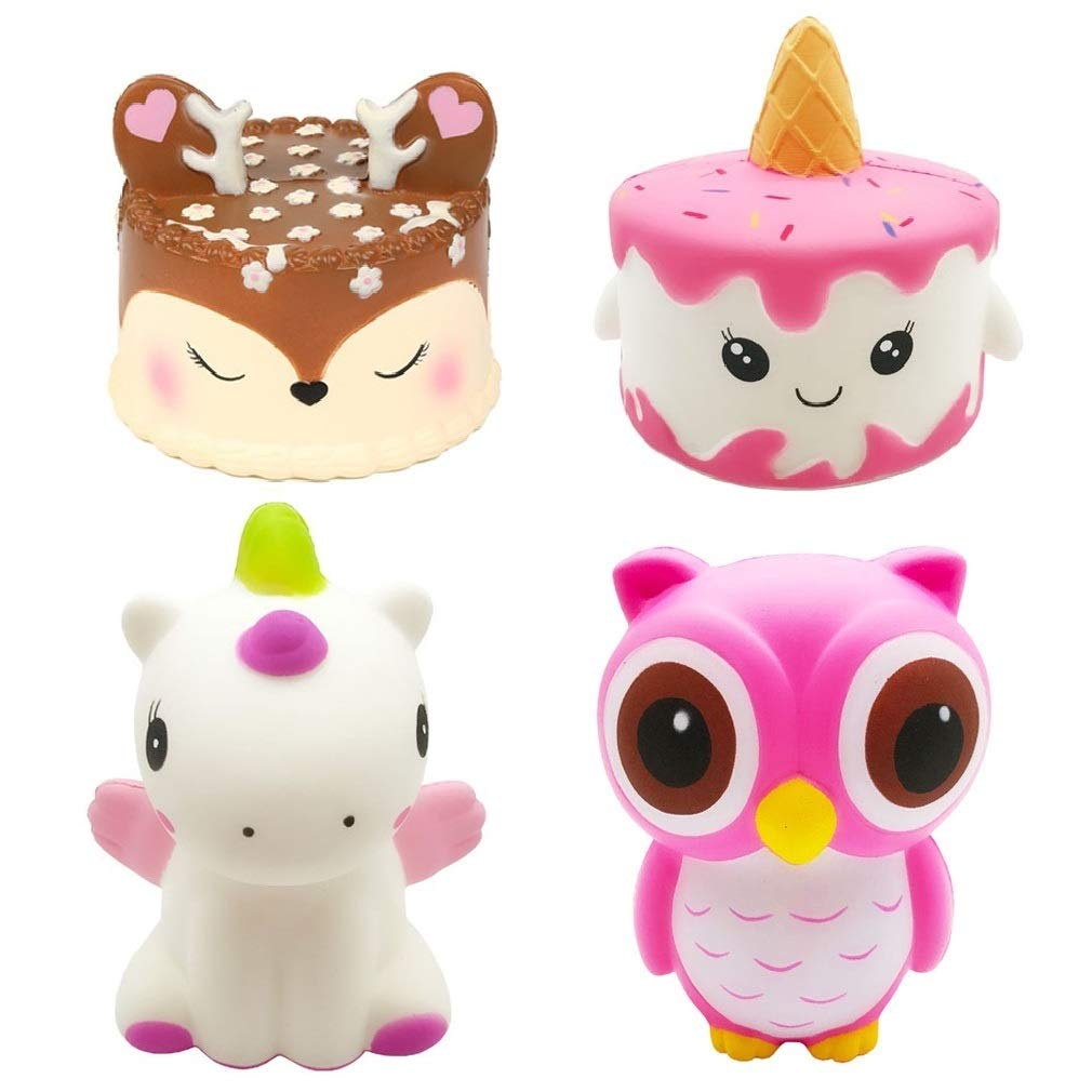 Kayoon 4PCS Jumbo Slow Rising Squishies Kawaii Cute Deer Cake Narwhal Cake Dinosaur Owl Cream Scented Squishy Kids Toys Doll Stress Relief Toy Hop Props Decorative Props Large by Kayoon