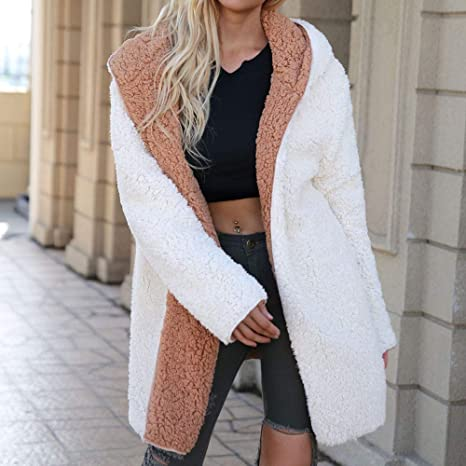 Amazon.com: AOJIAN Women Jacket Long Sleeve Outerwear Hooded Reversible Fuzzy Solid Coat Brown: Clothing