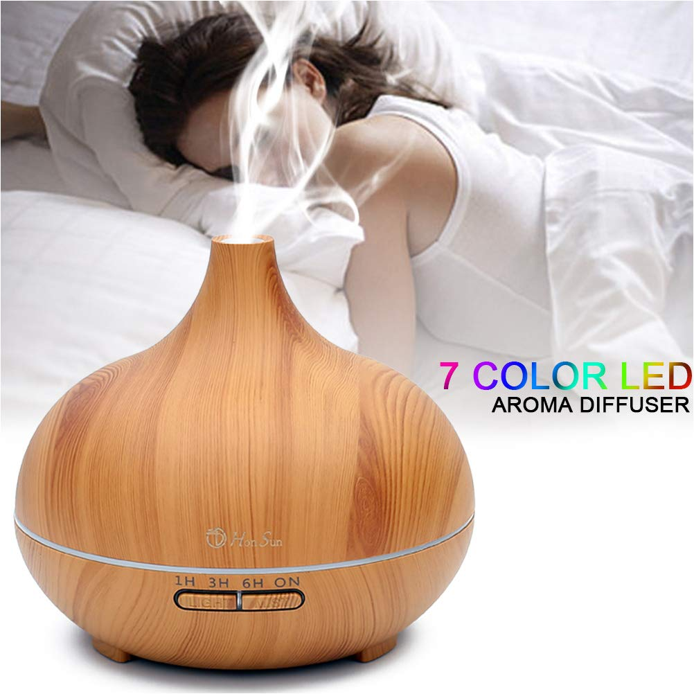HONSUN 500ml Aromatherapy Essential Oil Diffuser- Ultrasonic Cool Mist Humidifier Aroma Diffuser for Office Home Bedroom Living Room Study Yoga Spa