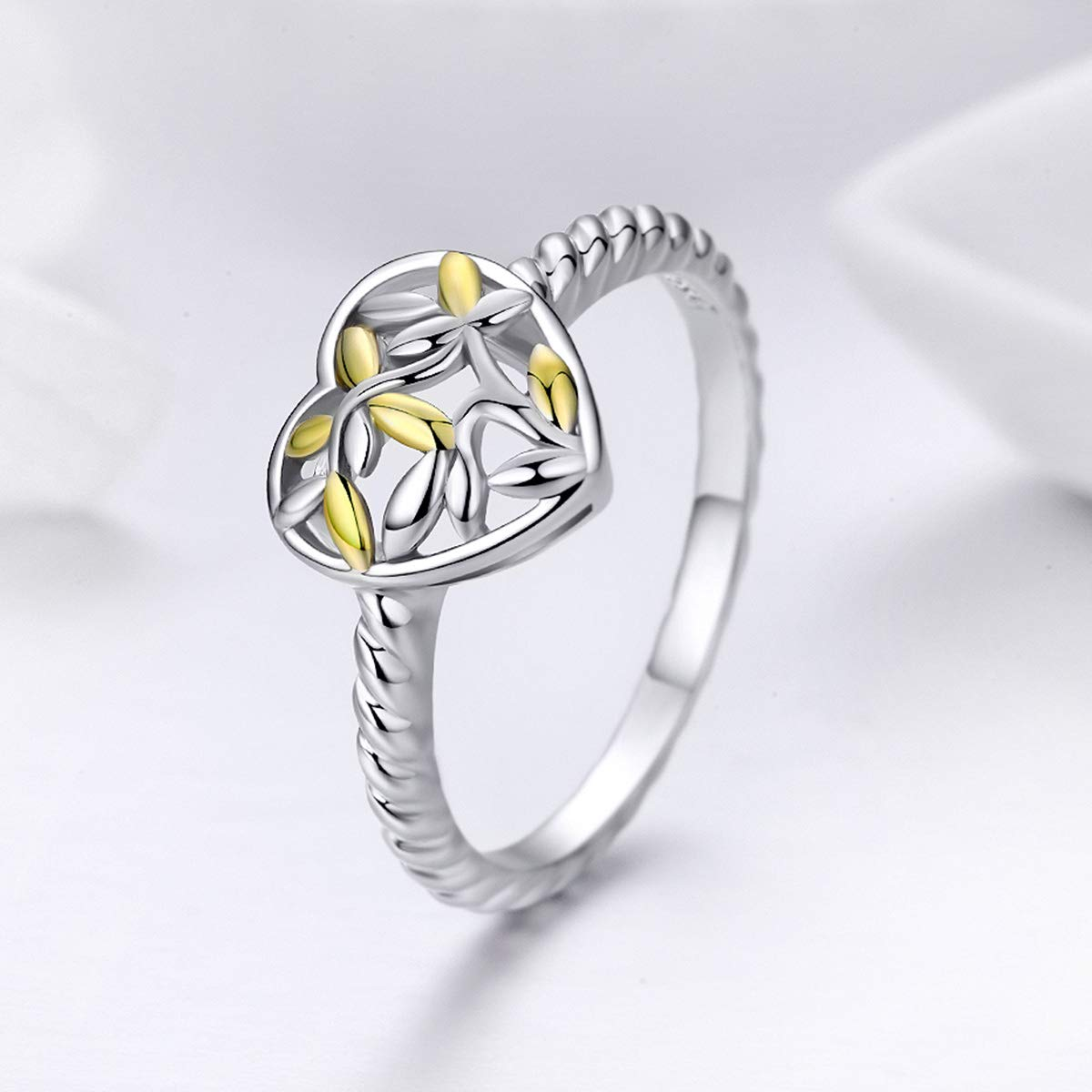Everbling Heart Engrave Tree Leaves 925 Sterling Silver Ring