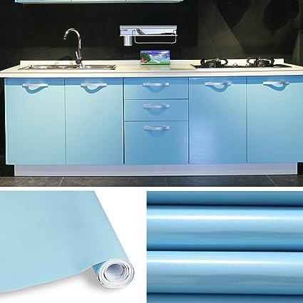 KINLO 0.61 * 15M PVC Pegatina de Mueble Papel Pintado Azul ...