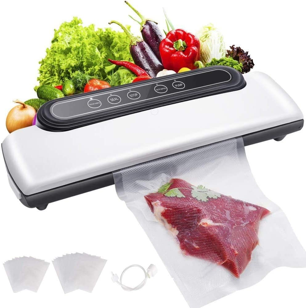 SmartCoolous Vacuum Sealer Machine with 30 bags 5 in 1 Automatic Food Sealer for Food Savers Dry & Moist Food Modes 80Kpa 4 Food Modes Vacuum Air Sealing System For Food Preservation