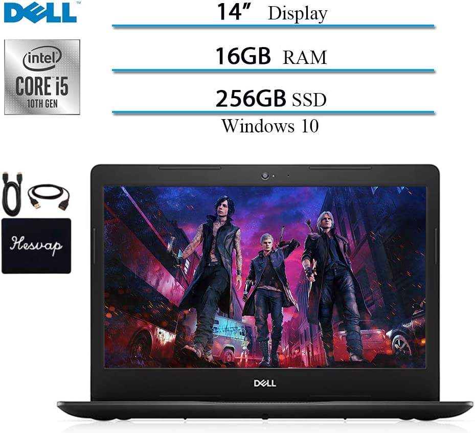 2020 Newest Dell Inspiron 14 inch Laptop, Intel Core i5-1035G4 (Up to 3.7GHz) 10 Geneartion, 16GB RAM, 256 SSD, HDMI, WiFi, Intel UHD Graphics, Bluetooth, Windows 10 w/ HESVAP Accessories
