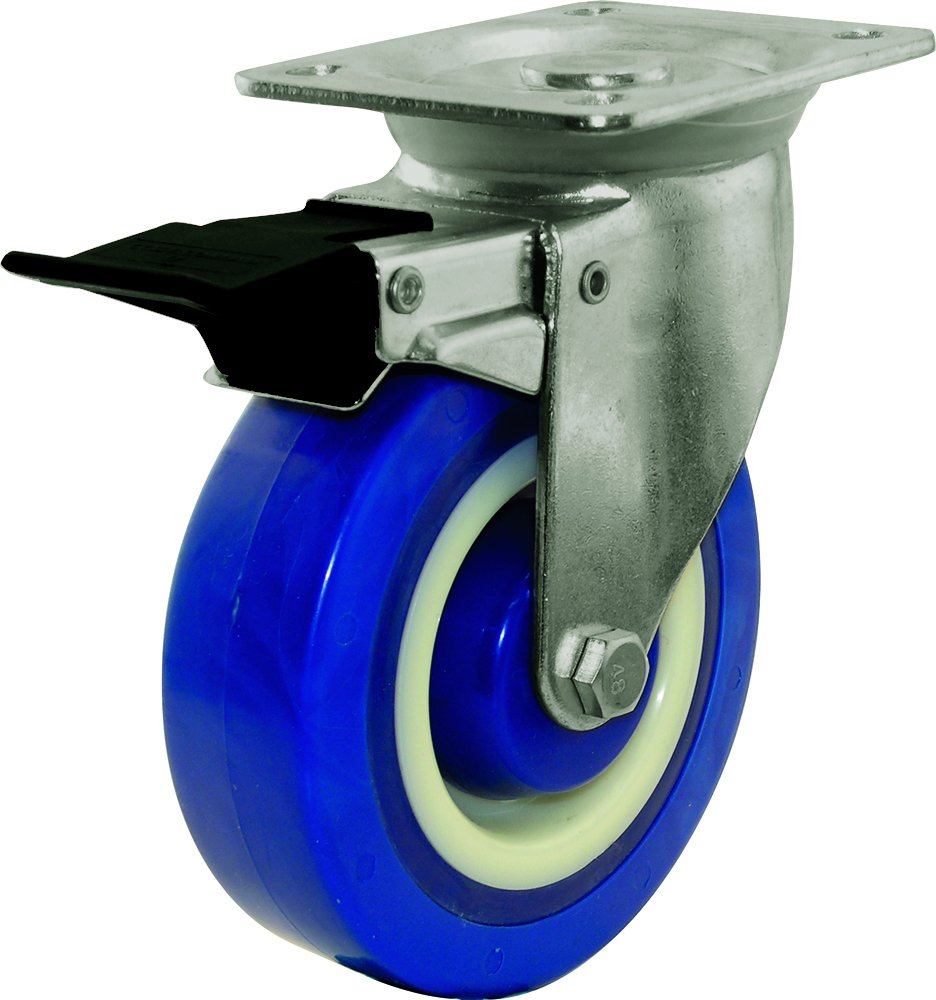 Shepherd Hardware 9247 5-Inch Polyamide Swivel Caster with Brake, 440-lb Load Capacity