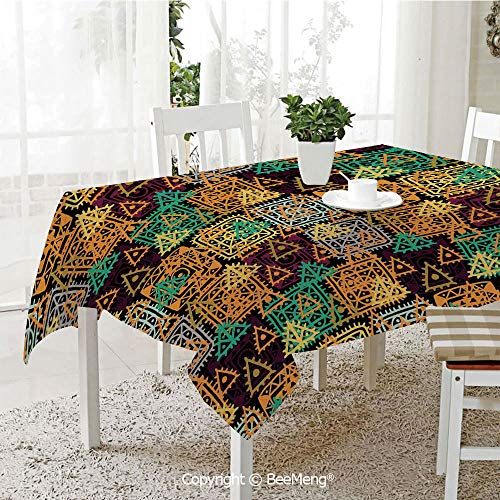 BeeMeng Large dustproof Waterproof Tablecloth,Family Table Decoration,Modern Art Home Decor,Folk Aztec Motif with Ornate Triangles Rounds and Inner Spots Dots Figures,Multi,70 x 104 -