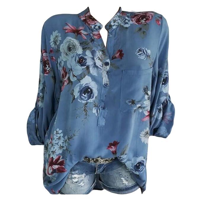 Mibuy Mujer Blusa Cuello En V Camiseta De Mangas Largas Camisa con ...