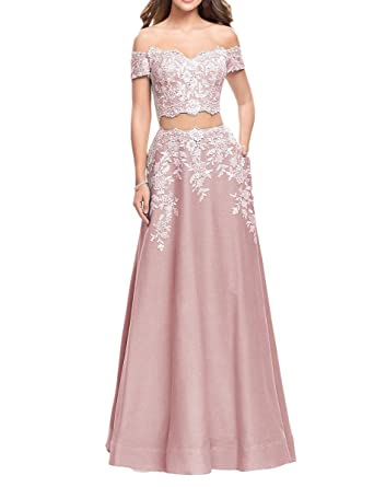 Gotidy Long 2 Pieces Off The Shoulder Formal Lace Prom Dresses Sleeves Blush Pink US2