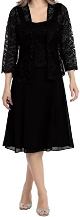 Amazon Com Vestido Corto Formal De Encaje Para Madre De La Novia Talla Grande Con Chaqueta Para Mujer Clothing