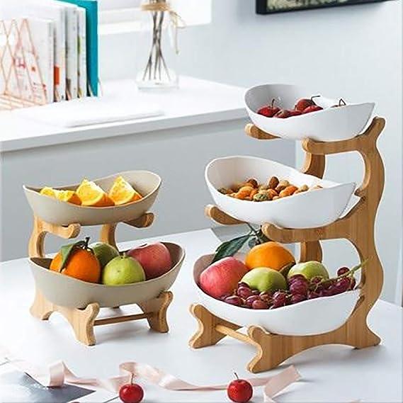 Znx Porte-Fruits Stand pour La Cuisine C/éramique Trois Couches Assiette /À G/âteau Aux Fruits Dessert Pr/ésentoir Plateau De Pizza Color : A