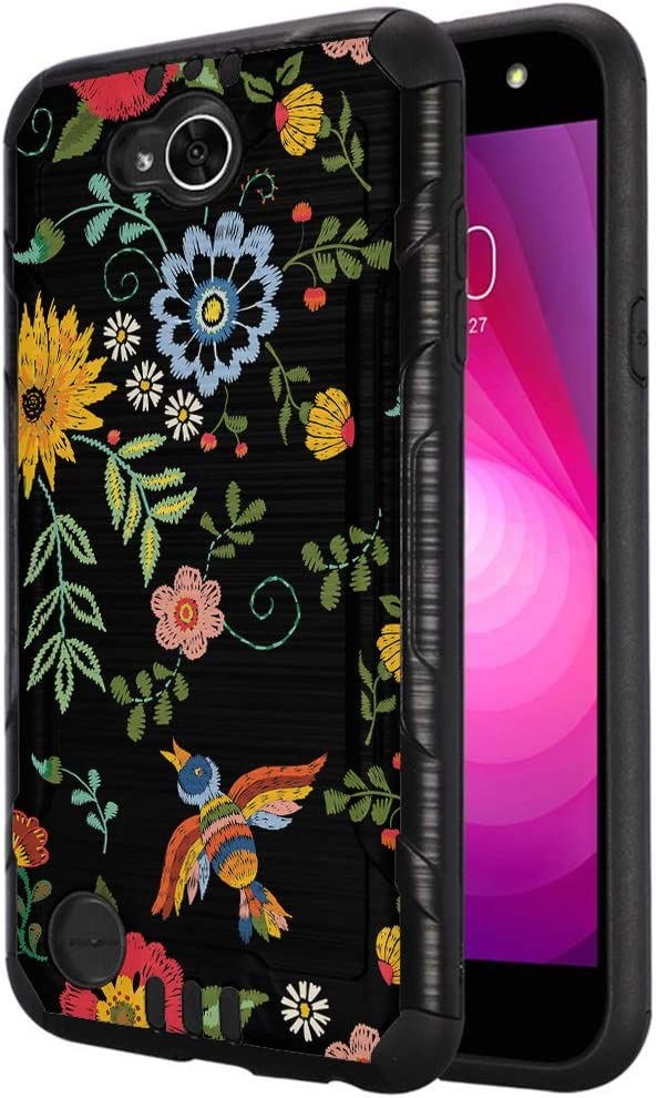 Capsule Case Compatible with LG X Power 2, LG X Charge, LG Fiesta LTE, LG K10 Power, LG LS7 4G LTE [Dual Layer Slim Defender Armor Combat Case Black Metal] - (Embroidery Flower Print)