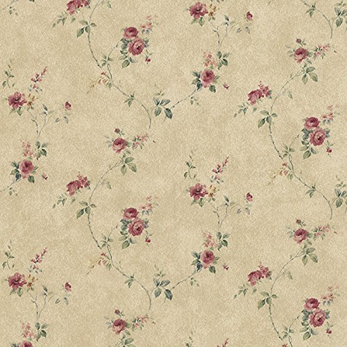 Manhattan Comfort NWPR33806 Tacoma Vinyl Rose Floral Trail Wallpaper, -