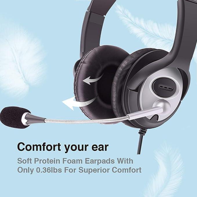 Auriculares de PC, auriculares USB para ordenador, auriculares para juegos con micrófono con cancelación de ruido y control de volumen, con cable ...