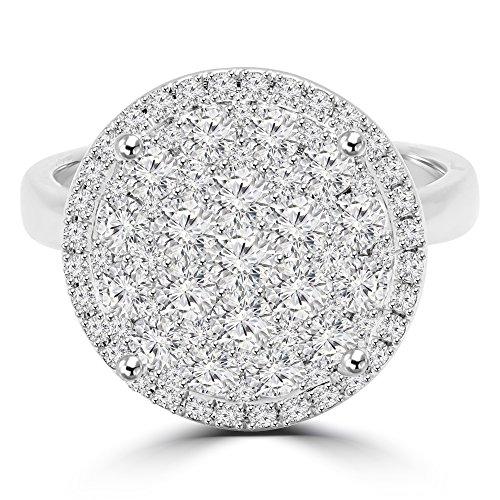 11/2Outlet-Serti de diamants Solitaire Grappe Fashion Bague de Fiançailles en Or Blanc 18K (md160293)