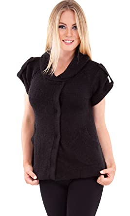 Ladies Black Short Sleeve Sweater Jacket Snap Button Closure at