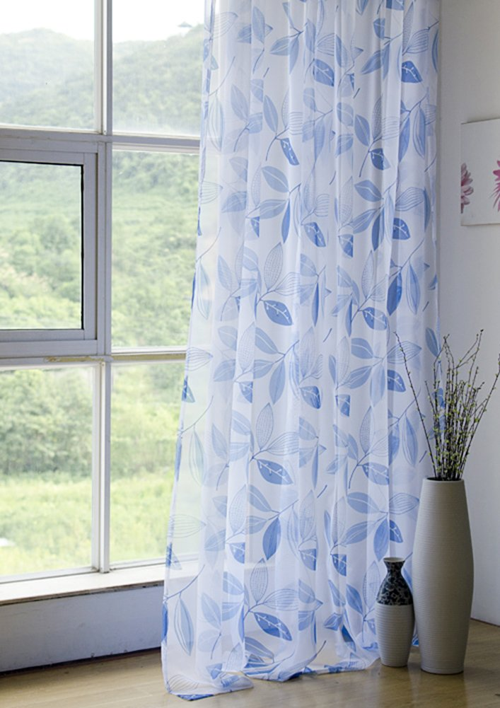 Aside Bside Tropic Leaves Printed Home Treatment Voile Draperies Rod Pockets Sheer Curtains Rural Style For Child Room Sitting Room and Kitchen (1 Panel, W 52 x L 63 inch, Blue)