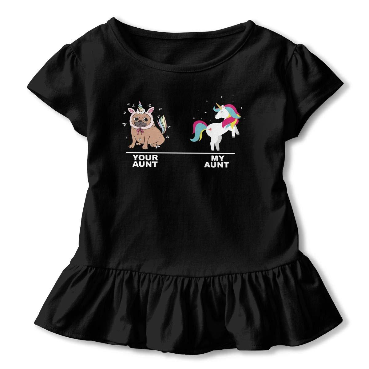 Unicorn Your Aunt My Aunt Funny Toddler Baby Girls Short Sleeve Ruffle T-Shirt
