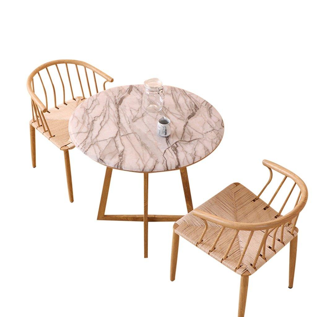 CB クリエイティブテーブルクロス、PVC円形ダイニングテーブル大理石パターン耐油防水テーブルクロス耐熱プラスチックテーブルクロス直径50-140CM 繊維 (色 : 白, サイズ さいず : 140CM) 140CM 白 B07DBM8W4Q