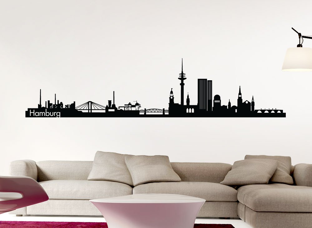 Wandtattoo-Günstig G142 Skyline Skyline Skyline Hamburg Wandaufkleber Wandsticker weiß (BxH) 180 x 41 cm B016AE8BLE Wandtattoos & Wandbilder 8057fd