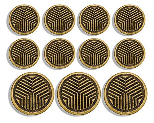 Geometric Triangle ~ Metal Blazer Button Set by MetalBlazerButtons.com (11 Button Set, Antique Gold)