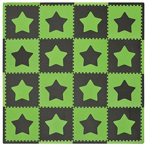 Tadpoles Baby Play Mat, Kid's Puzzle Exercise Play Mat - Soft EVA Foam Interlocking Floor Tiles, Cushioned Children's Play Mat, 16pc, Stars, Green/Brown, 50x50