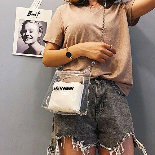 moda informal de SODIAL Bolsa Bolso mujer femenino simple de informal de Bolsa para hombro remache de transparente compuesta cadena senora Blanco de Amarillo v0qwv7C