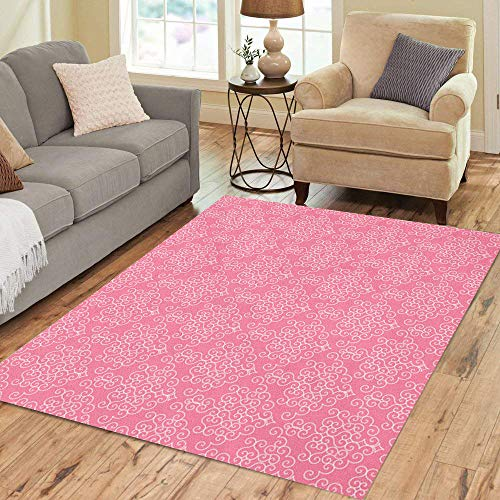 Pink Collection Birth Announcement - Semtomn Area Rug 3' X 5' Announcement Pink Patterned Damask Baby Birth Child Crib Curtains Home Decor Collection Floor Rugs Carpet for Living Room Bedroom Dining Room