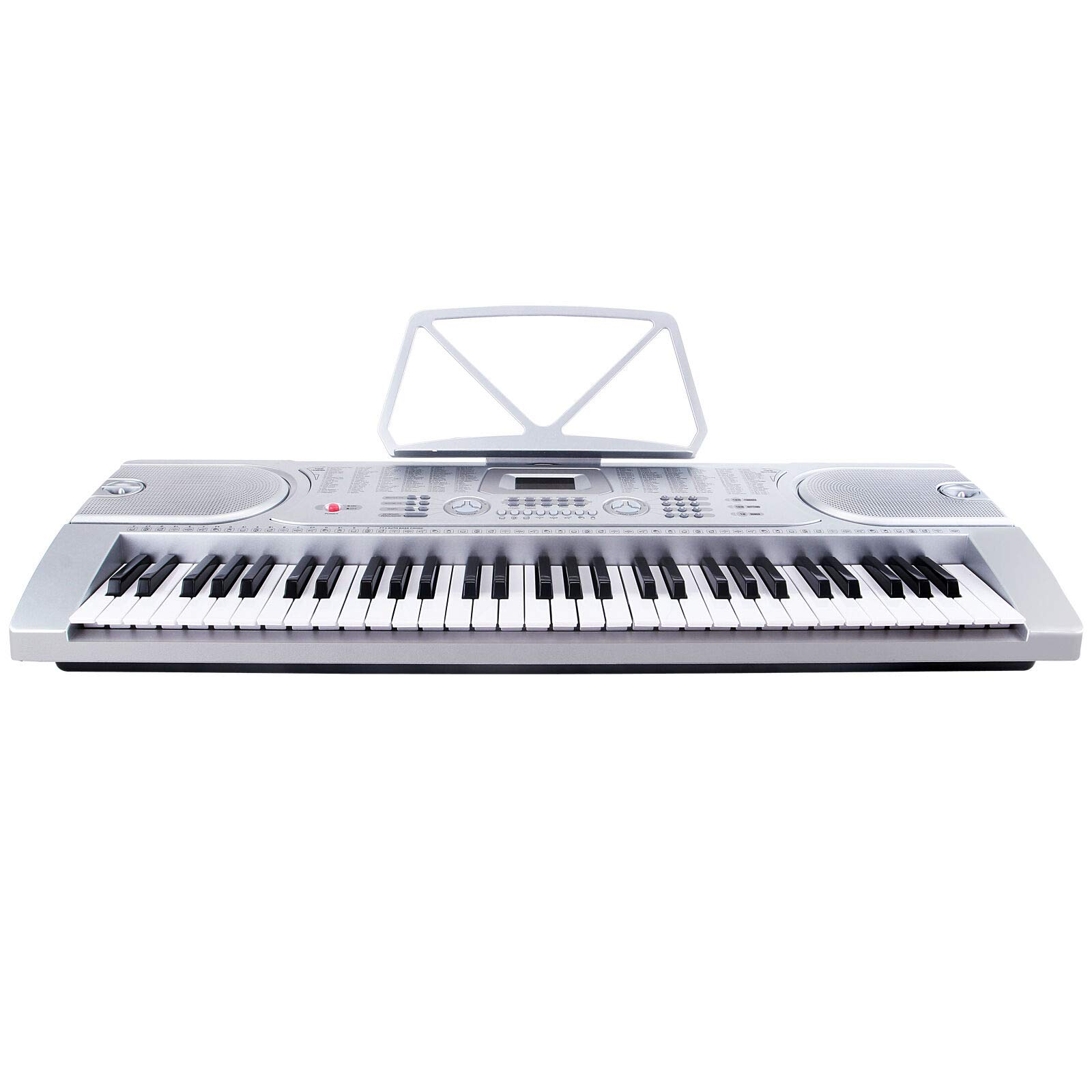 61 Key Music Electronic Keyboard Digital Piano Organ with Microphone Silver Discount for Business Customers and B2B by Smart Choice America by SMART CHOICE AMERICA