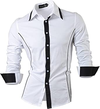 jeansian Men's Slim Fit Long Sleeves Casual Shirts 8015 White S