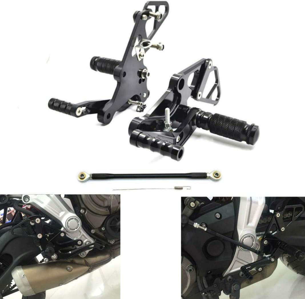Black CNC Adjustable Rearsets Rear Set Foot Peg For 2013-2018 Yamaha MT07 FZ 07