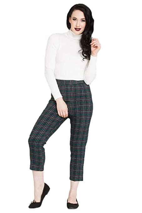 Vintage High Waisted Trousers, Sailor Pants, Jeans Hell Bunny Peebles 50s Green Cigarette Capri Cropped Trousers Retro Vintage Tartan $30.92 AT vintagedancer.com