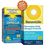Renew Life Norwegian Gold Adult Fish Oil - Daily Omega, Fish Oil Omega-3 Supplement - Gluten & Dairy Free - 60 Burp-Free Softgel Capsules