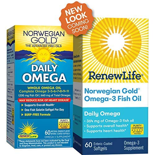 Renew Life Norwegian Gold Adult Fish Oil - Daily Omega, Fish Oil Whole Omega Supplement - 60 Burp-Free Softgel Capsules (Packaging May Vary)