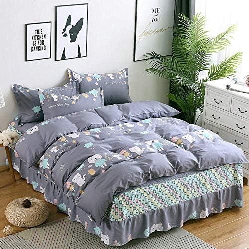 寝具セット、キングサイズ韓国語版コットンベッドスカートタイプ漫画のアニマルプリント4枚