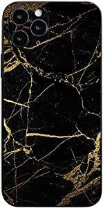 MightySkins Skin for Apple iPhone 12 Pro - Black Gold Marble | Protective, Durable, and Unique Vinyl Decal wrap Cover | Easy to Apply, Remove, and Change Styles | Made in The USA