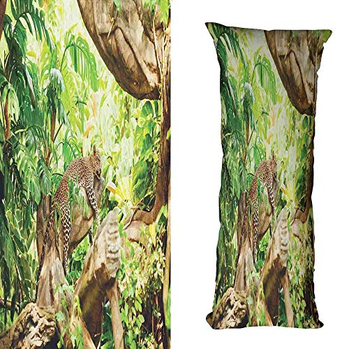 duommhome Safari Customized Pillowcase Leopard on The Branch in Savannah Exotic Macro Tropical Leaf Jungle Wild Nature Art Without core W17.7X L27.5 inch Brown Green