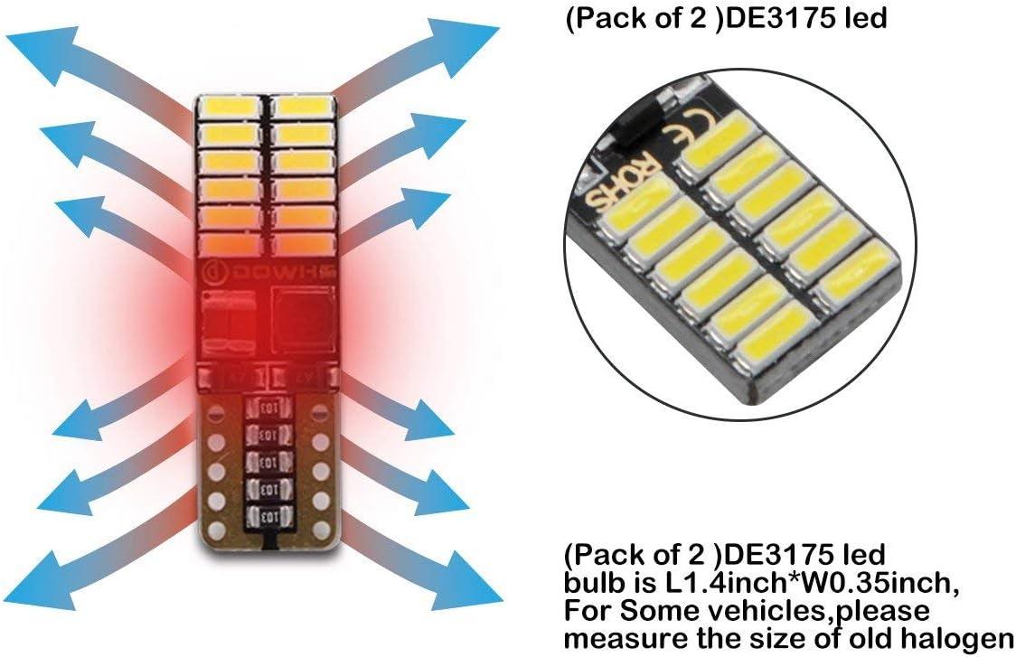 HugeAuto Lampadina LED Canbus T10 194 W5W Super White 9-30V 4014 Chips 24SMD LED lampada 3,1 cm per luci interne auto illuminazione portiera lettura interno auto