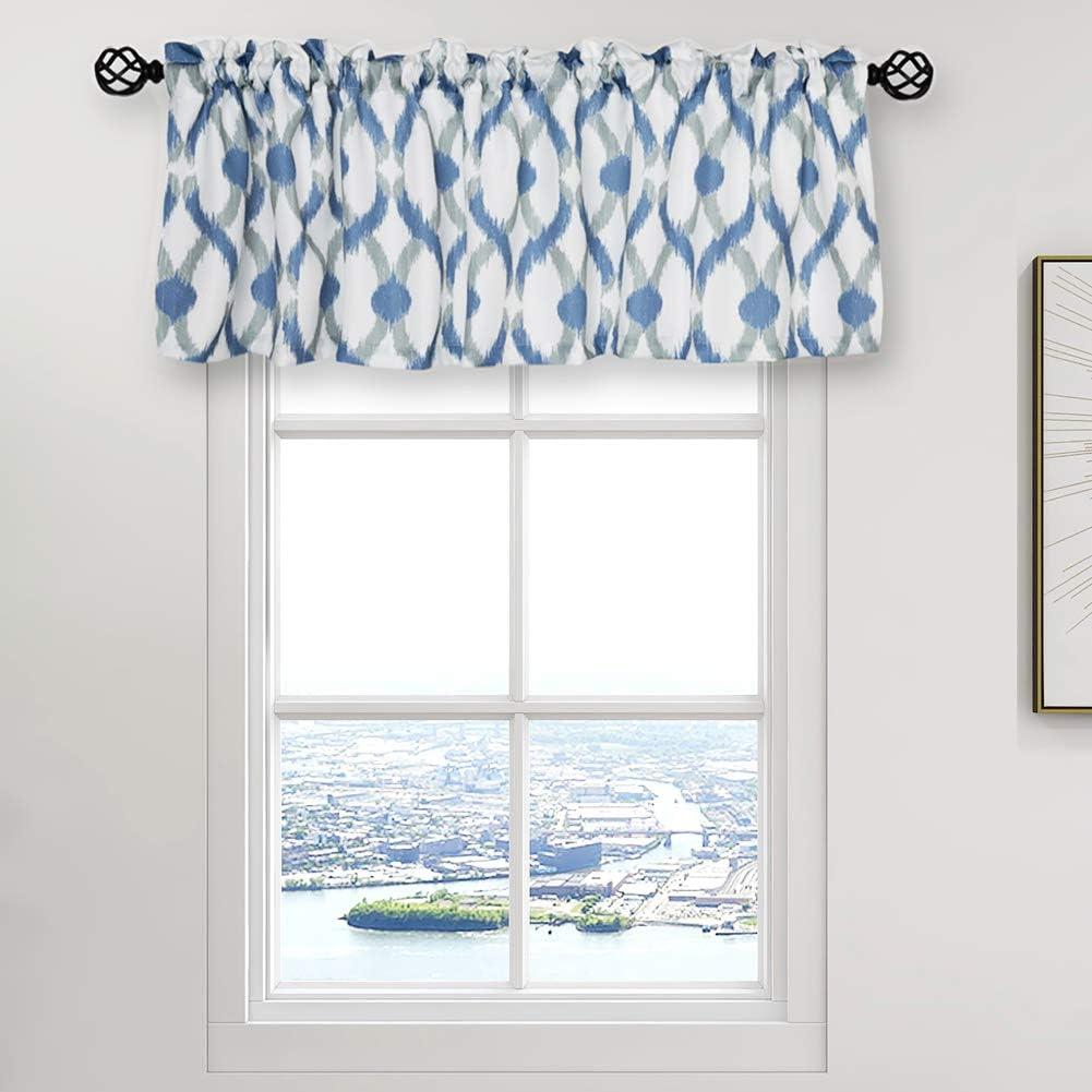 Amazon Com Oremila Kitchen Curtain Valance 54 X 15 Multicolor Geometric Window Valance For Kitchen And Bathroom Rod Pocket Navy Gray Kitchen Dining