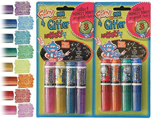 Mini Glitter Markers Washable - Set of 8 Different Colors